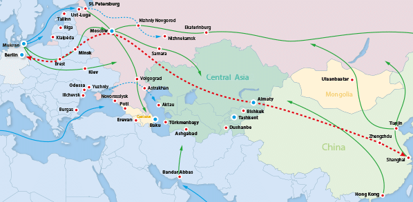 Map Of Europe And China.Rail Road Logistics
